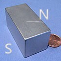 "Six 1"" x 1""x 2"" Neodymium NdFeB Block Magnets, Ni-Cu-Ni Plated"